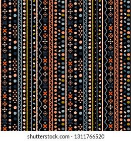 Stammeskunst, ethnisches nahtloses Muster. Abstrakte geometrische Hintergrundstruktur. Wiederholung des Folkloredrucks. Stoffdesign, Tapete