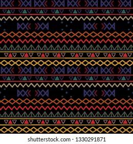Tribal art, ethnic seamless pattern. Vintage border background. Repeating striped print. Fabric design, wallpaper