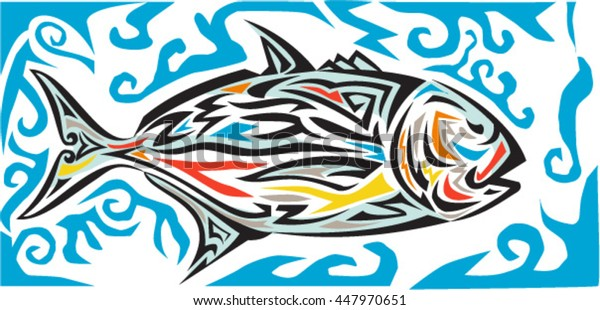 Tribal art illustration of giant trevally, Caranx ignobilis  also known as giant kingfish, lowly trevally, barrier trevally, or ulua a species of large marine fish in jack family, Carangidae in color