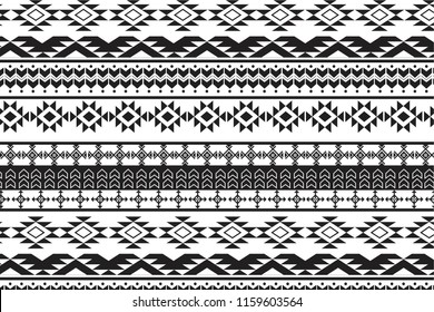 Tribal art pattern. Ethnic geometric black and white print. Aztec  repeating background texture.