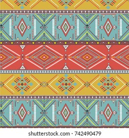 Tribal art seamless pattern. Ethnic geometric print. Aztec colorful repeating background texture.
