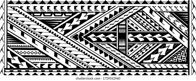 Tribal art tattoo sleeve in Polynesian aboriginal style