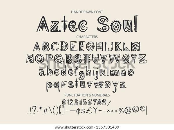 Tribal Aztec Alphabet Vektor Ethnische Briefe Mit Stock