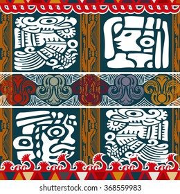 Tribal Aztec seamless pattern with mask. Vector illustration