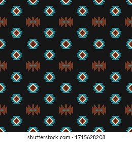 Tribal aztec seamless vector pattern. Geometric background with ethnic motifs. Design in boho style for printing on textile or paper.