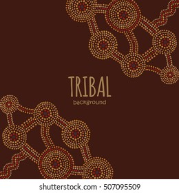Tribal background in Aboriginal dot painting style.