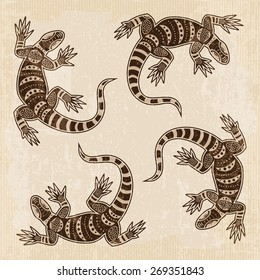 Tribal background with lizards