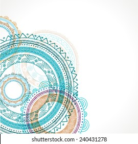 Tribal, Bohemian Boho, Mandala background with round ornament. Hand drawn vector illustration