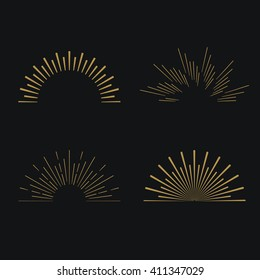 Tribal boho gold sun burst frame with place for your text. Starburst hipster logo, line art vector illustration of fireworks.