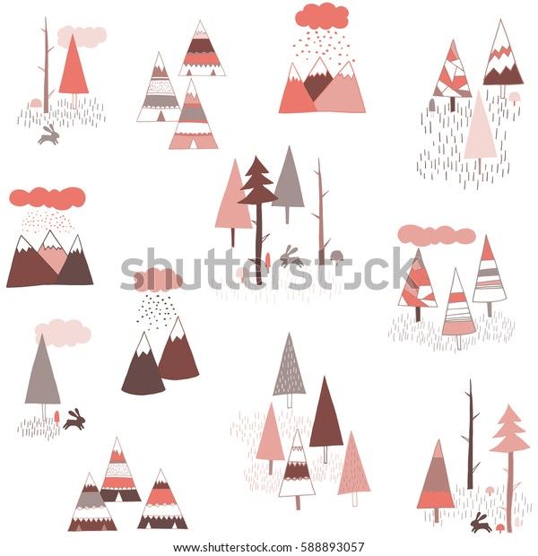 Tribal boho vector pattern with mountains, pines, rabbit and teepee. Hand drawn cute illustration for girls. Pink and gray background for baby.