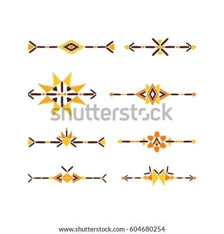 Tribal Border Set Vector Colorful Elements Stock Vector Royalty