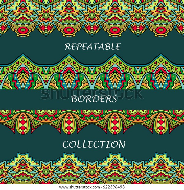 Tribal Borders Collection Bright Colors Abstract Stock