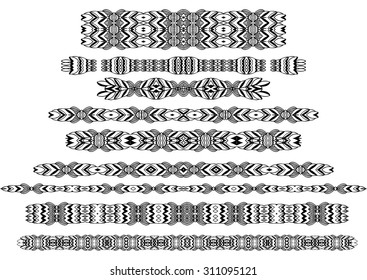 Tribal borders, dingbats, dividers for the page decoration. Vector illustration isolated on the white background. Can be used for birthday card, wedding invitations, book page decoration.