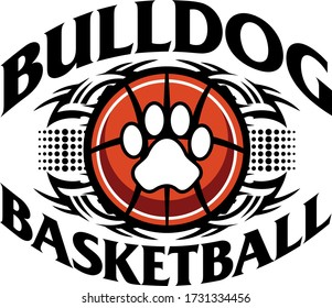 tribal bulldog basketball team design with paw print inside ball for school, college or league