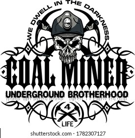 tribal coal miner design with skull and crossed pickaxes