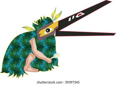 Tribal dancer wearing bird mask rendered in Northwest Coast Native style.