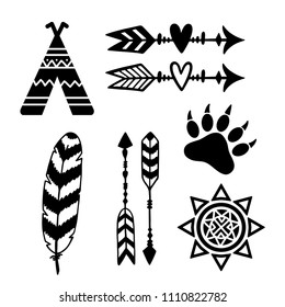 Tribal design elements: sun, arrows, feather, tribe, bear paw. Vector illustration isolated on white background.