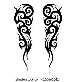 tribal design  pattern elements for tattoo men right and left hand and shoulders, art deco idea tattoos  design body, vector couple celtic tribal design elements ornament on arms