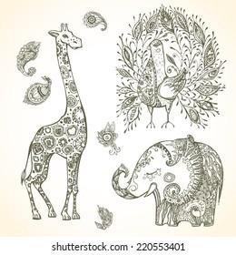 Tribal doodle animal set