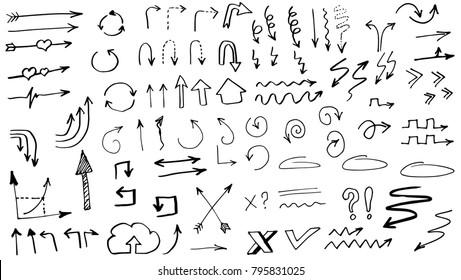 Tribal doodle hand drawn vector arrows