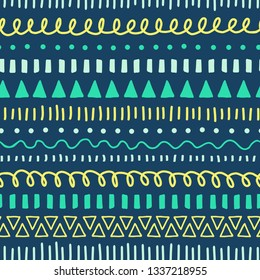 Tribal Doodles seamless vector pattern. Ethnic style background white, blue, yellow, teal. Hand drawn doodle strokes, lines, triangles repeating background. For fabric, web banner, kids decor