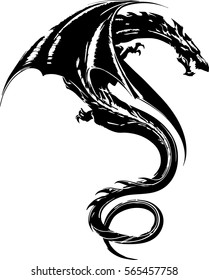 Tribal Dragon Tattoo Design Illustration