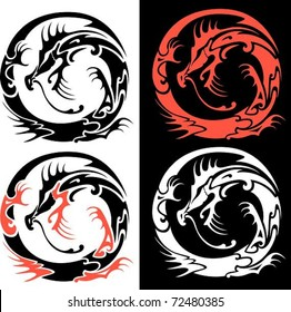 Tribal Dragon. The vector illustration of a tribal dragon's symbol twisted in circle shape.