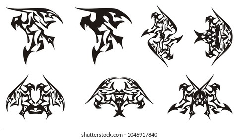 Tribal eagle symbols in the dragon form. Eagle symbol, similar to a dragon and the double peaked symbols formed from him on a white background for your design