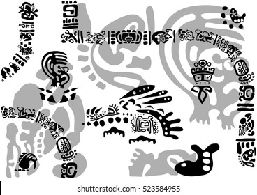 Tribal elements and symbols. Images of characters of ancient American Indians.The Aztecs, Mayans, Incas.