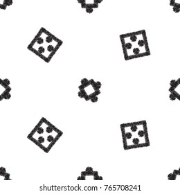 Tribal embroidery with squares and dots. Vector abstract seamless pattern. Black graphic on white background. Geometric embroideries shapes in minimalistic ethnic, boho, aztec, hipster style.