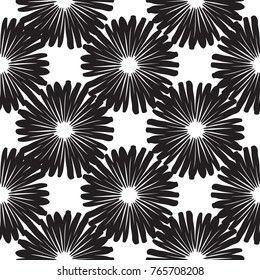 Tribal embroidery with tiny dot. Vector abstract seamless pattern. Black graphic on white background. Geometric embroideries shapes in minimalistic ethnic, boho, aztec, hipster style.
