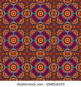 Tribal ethnic arabic, indian, turkish patern ornament. Vector traditional oriental background in brown, purple and pink colors. Seamless pattern with the pre-existing geometry in the drawing.