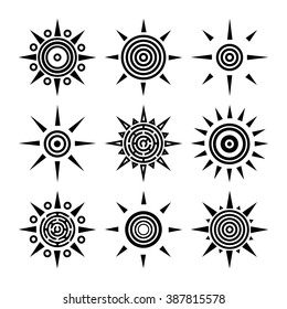 Tribal ethnic boho collection of suns. Outline black sun icons isolated on white background. Set of radial elements for your design. Vector illustration