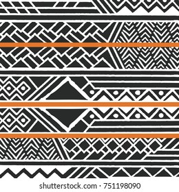 Tribal ethnic colorful bohemian pattern with geometric elements, African mud cloth, tribal design, vector illustration