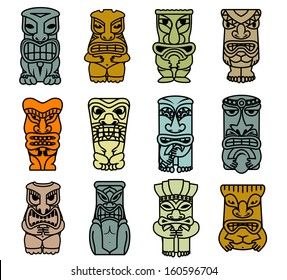 Tribal ethnic masks and totems for religious or historical design. Jpeg version also available in gallery