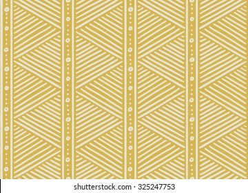 Tribal ethnic seamless african pattern. Vector illustration for print, textile design and background. Beige stripes and dots on a ocher background in african style. Stylish decoration, ornament.