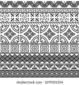 Tribal ethnic seamless pattern. Black and white geometric ornament. Abstract monochrome bacground. Textile design. Vector illustration.