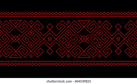 Tribal, ethnic seamless pattern with geometric georgian folk element. Abstract vector kazakh, georgian, uzbek ornament monoline design for border background or wallpaper. Georgian pattern