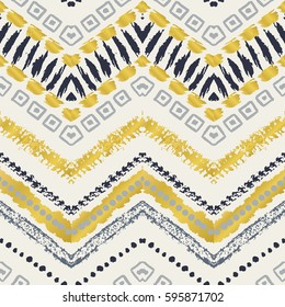 Tribal ethnic seamless pattern. Vector illustration for fashion design. Aztec watercolor background. Cute stylish navajo fabric. Doodle hand drawn art print. Chevron zig zag abstract native motif