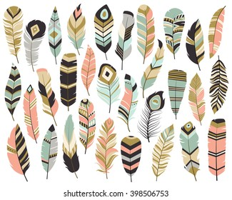Tribal Feathers Mint, Coral, Navy and Gold Vector Set