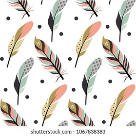 Tribal feathers seamless patern. Vector illustration for your design.