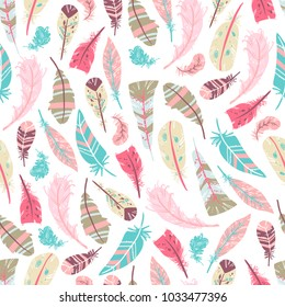 Tribal Feathers Vector Seamless pattern, hand drawn