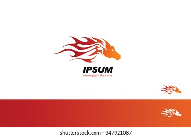 Tribal Fire Horse Head Silhouette symbol branding template