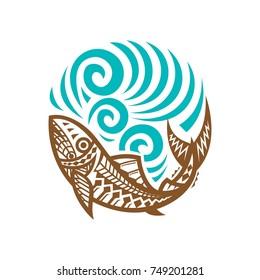 Tribal Fish wave illustration