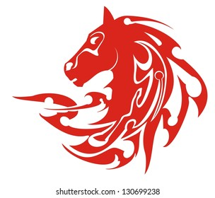 Tribal flaming horse head symbol, vector. Flaming symbol of a horse head  ready for labels, stickers and T-shirt designs. Ready for vinyl cutting and engraving