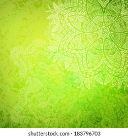Tribal flower, green abstract background, vector illustration