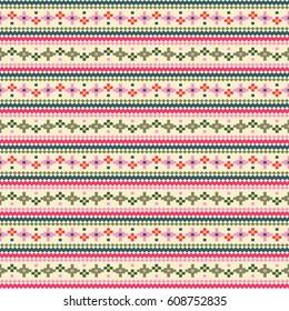 Tribal flower stripes seamless pattern, ethnic style vector illustration