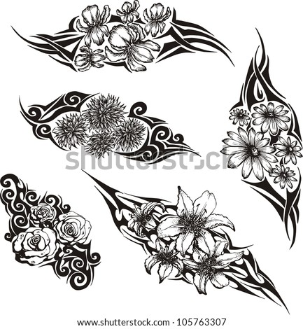 Tribal Flower Tattoos Set Black White Stock Vector Royalty Free