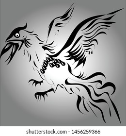 Tribal flying cock black tattoo motif with a sparkling black background