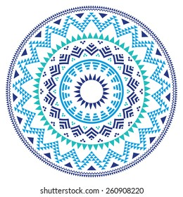 Tribal folk Aztec geometric pattern in circle - blue, navy and turquoise